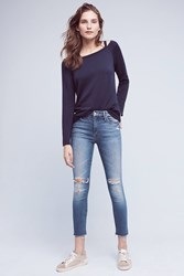 Anthropologie Mother Looker Mid Rise Frayed Ankle Jeans Denim Light