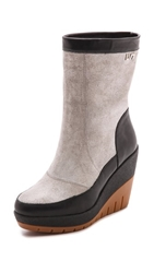 United Nude Lora Faux Fur Lined Suede Booties Black Stone Gum