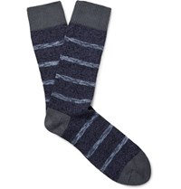 The Workers Club Striped Melange Cotton Blend Socks Navy