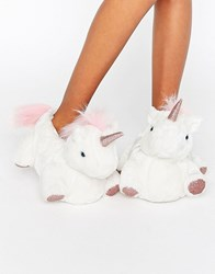 New Look Glitter Contrast Unicorn Slipper White