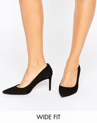 Dune Wide Fit Abbigail Suede Court Shoes Black Suede