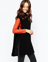 Daisy Street Roll Neck Tunic With Side Splits Black