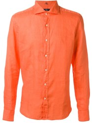 Fay Lightweight Button Down Shirt Yellow And Orange