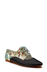 Shoes Of Prey Floral Print Cutout Oxford Women Black Floral