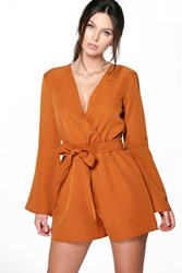 Boohoo Flare Sleeve Self Belted Playsuit Chestnut