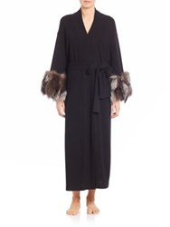Josie Natori Fox Fur Trimmed Cashmere Robe Black