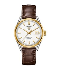 Tag Heuer Mens Carrera Calibre 5 Automatic Two Tone And Leather Watch Brown