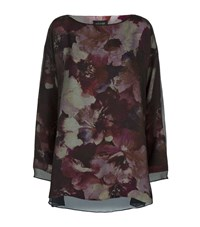 Eskandar Printed Crepe Overlay Top Female Black