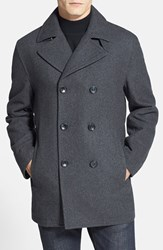 Men's Michael Kors Wool Blend Double Breasted Peacoat New Charcoal