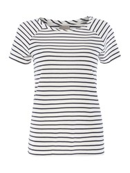 Vero Moda Short Sleeve Striped Top Navy Stripe