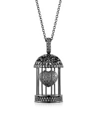 Azhar Gabbietta Silver And Zircon Cage Pendant Necklace Black