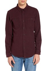 Ezekiel Men's Dallas Trim Fit Herringbone Woven Shirt Wine