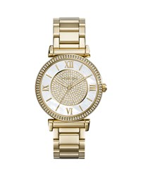 Caitlin Rhinestone Golden Stainless Steel Watch Michael Kors