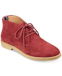 Tommy Hilfiger Zakry Chukka Booties Women's Shoes Red Suede