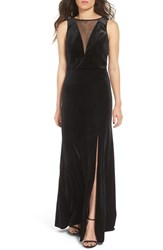 Morgan And Co. Women's Illusion Stretch Velvet Gown
