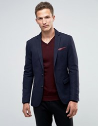 Selected Homme Tonal Check Blazer In Slim Fit Dark Blue