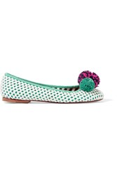 M Missoni Embellished Crocheted Raffia And Twill Flats White