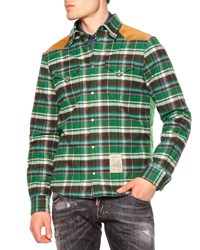 Dsquared2 Long Sleeve Flannel Shirt W Puffer Back Green Size 50