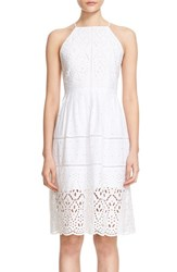 Women's Parker 'Alana' Eyelet Embroidered Cotton Fit And Flare Dress White