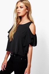 Boohoo Ruffle Open Shoulder Woven Top Black