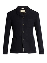 Oliver Spencer Solms Notch Lapel Wool Jacket Navy