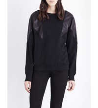 Diesel Carmen Cotton Jersey And Leather Sweatshirt 0Qaiy 900