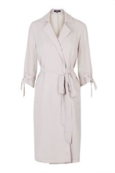 Tear It Down Stone Grey Chiffon Trench Coat By Goldie