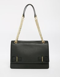 Modalu Leather Shoulder Bag With Chain Strap Black