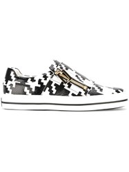 Roger Vivier Houndstooth Zip Sneakers White