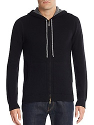 Saks Fifth Avenue Contrast Cashmere Hoodie Black