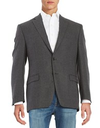 Lauren Ralph Lauren 2 Button Textured Wool Blazer Dark Grey