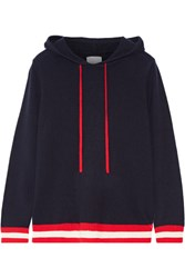 Madeleine Thompson Dalton Hooded Striped Cashmere Sweater Navy
