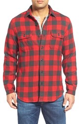 Men's Wallin And Bros. Thermal Lined Flannel Shirt Red Ochre Black Buffalo