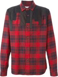 White Mountaineering Patchwork Plaid Shirt Red