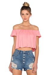 Susana Monaco Off The Shoulder Crop Top Pink
