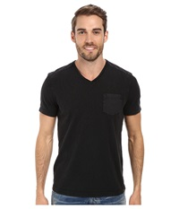 Kenneth Cole Sportswear Acid Washed V Neck Black Men's Short Sleeve Knit