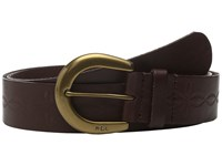 Lauren Ralph Lauren 1 1 2 Veg Embossed Jeans Belt With Western Tooling Detail C Buckle Dark Brown Women's Belts