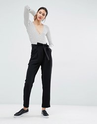 Just Female Eli Trousers In Peg Leg With Tie Belt Black