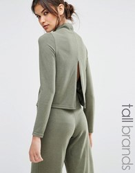 Noisy May Tall Long Sleeve High Neck Jumper Co Ord Khaki Green
