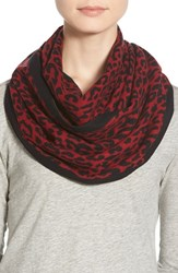 Women's Chelsey Leopard Print Silk Infinity Scarf Purple Red Black