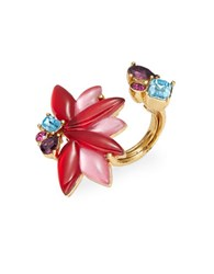Oscar De La Renta Stone Cocktail Ring Red