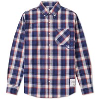 Denim By Vanquish And Fragment Button Down Check Shirt Blue