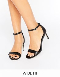 New Look Wide Fit Leather Barely There Mid Heel Sandal Black