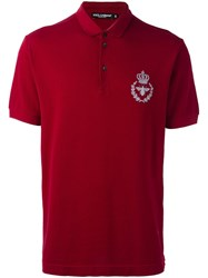 Dolce And Gabbana Crown Bee Polo Shirt Red