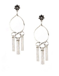 Gerard Yosca Crystal Drop Circle Drop Earrings Gunmetal
