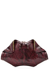 Alexander Mcqueen De Manta Printed Leather Clutch Red