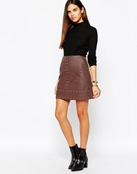 Warehouse Pu Studded Skirt Tan
