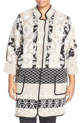 Nic Zoe 'Gallivant' Reversible Cardigan Plus Size Brown