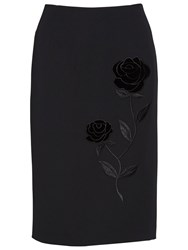 Gina Bacconi Moss Crepe Skirt With Rose Embroidery Black