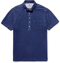 Brunello Cucinelli Slim Fit Button Down Collar Cotton Pique Polo Shirt Blue